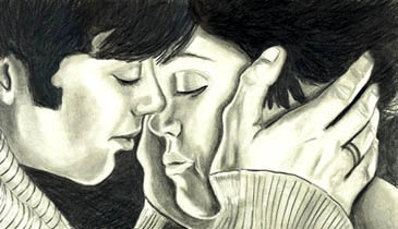 drawing of Cillian Murphy kissing Tricia Vessey in the movie On the Edge