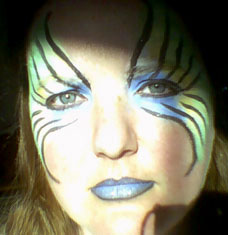 My first attempt at facepainting, don't I look loverly?
