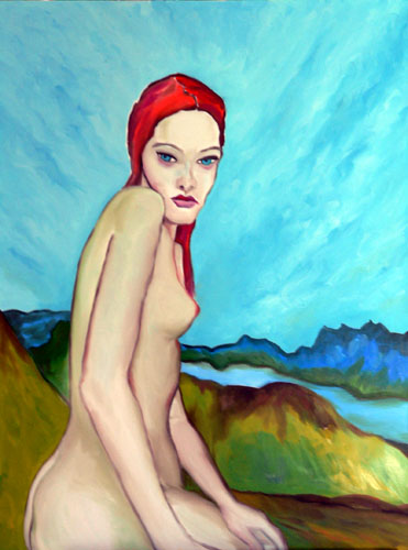 nude-woman-red-hair-overlooking-Gastineau-Channel-Alaska (59k image)