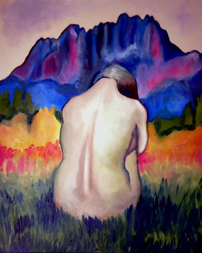 painting-nude-woman-in-front-lionshead-mountain-med (55k image)