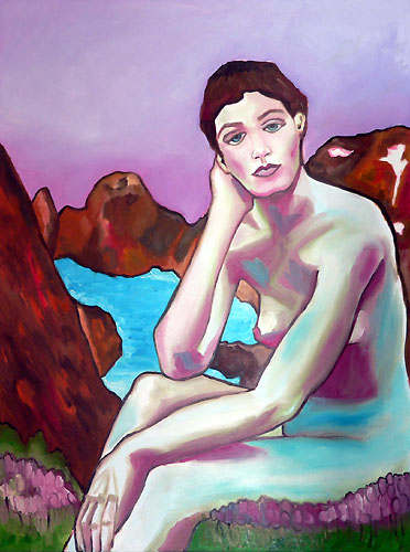 painting nude woman over glacier purple sky painting nude woman over glacier purple sky (72k image