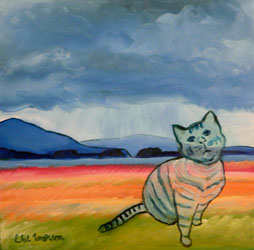 painting-stripped-cat-juneau-alaska-wetlands (34k image)