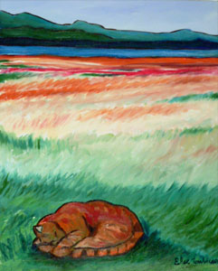sleeping-orange-cat-painting-wetlands-juneau-alaska (34k image)