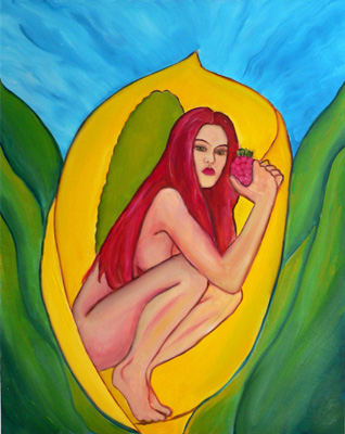 woman-in-a-skunk-cabbage-eating-red-fruit (79k image)