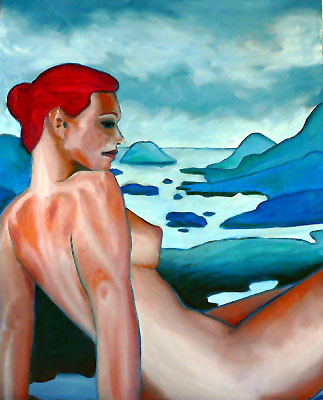 woman-sitting-above-island-chain-alaska (56k image)