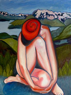woman-with-legs-crossed-overlooking-glacier-alaska (57k image)
