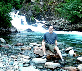 Rick at the waterfall of Perserverance Trail