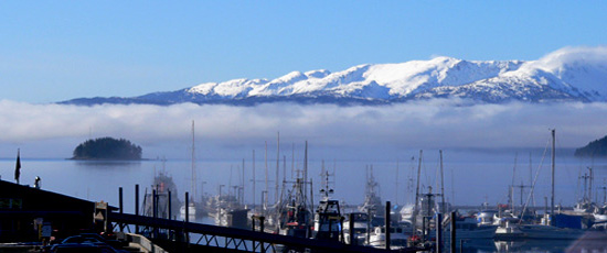 photo of the Auke Bay harbor, juneau alaska