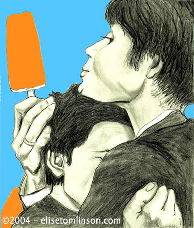 Drawing / Painting of Cillian Murphy and Tricia Vessey with orange popcicles from the movie On the Edge