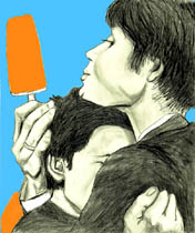 Cillian Murphy<br />             &quot;On the Edge&quot; blue background with orange creamcicles