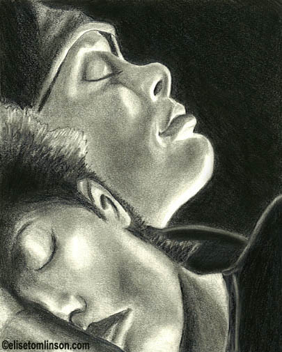 Drawing of Cillian Murphy sleeping next to the Selena character in the movie 28 Days Later.