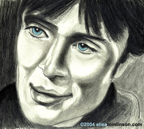 drawing of Cillian Murphy smiling with eyes - Elise Tomlinson