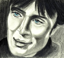 Drawing of Cillian Murphy with Blue Eyes from On the Edge - Elise Tomlinson