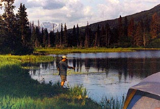 Rick Fly fishing near Russian River Alaska