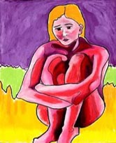 Holding Together - Painting of an alizarin crimson nude holding her arms around her knees - Elise Tomlinson