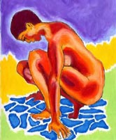Reflection - Painting of a nude woman gazing into a pool of water - Elise Tomlinson