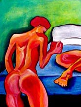 The Art of Serving - Painting of a red nude serving coffee in bed - Elise Tomlinson